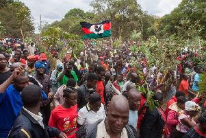Supporters of the Malawi Congress Party leader Lazarus Chakwera protest against the re-election of President Peter Mutharika. Picture: AFP/Getty