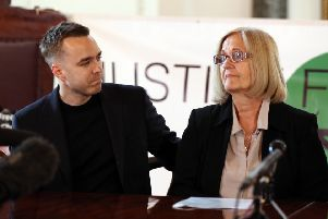 Sally Challen with her son David during a press conference after she left the Old Bailey where she was told that she would not face a retrial over the death of her husband Richard Challen in 2010. Photograph: Yui Mok/PA Wire