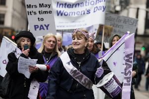 An International Women's Day march in Glasgow. Picture: John Devlin