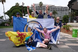 Scotland fans soak up the atmosphere before the match. Picture: Lorraine Hill.