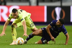 Dinamo's Amir Rrahmani attempts to shake off Anderlecht midfielder Zakaria Bakkali during a Europa League clash