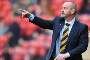 Scotland manager Steve Clarke issues instructions against Cyprus.