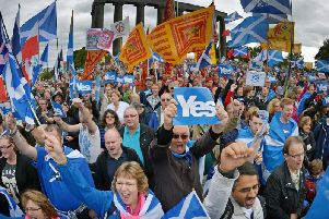 Thousands of pro-independence campaigners attend a rally on Calton Hill in Edinburgh in 2013. Picture: Getty