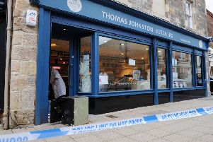 Thomas Johnston Butchers in Falkirk was broken into overnight, with thieves dumping an emptied safe outside the store. Pictures: Michael Gillen