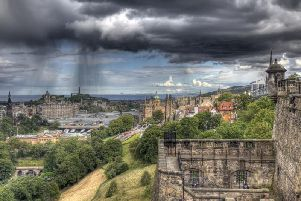 Rain above the Edinburgh skyline. Pic: Jan Kranendonk-Shutterstock