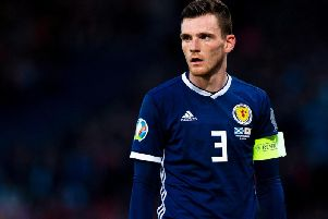 Andy Robertson in action for Scotland against Cyprus