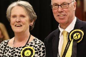 Angela Wrapson with her husband George Kerevan on election night in 2015