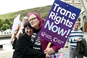 Demonstration outside Scottish Parliament to decide whether a question should appear around transgender status on the next census. Picture: Lisa Ferguson