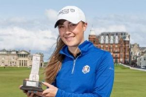 Hazel MacGarvie, winner of the recent St Rule Trophy, is through to the last 16 of the Women's British Amateur Championship.