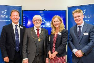 From left: Bidwells senior partner Patrick McMahon, Provost of Perth and Kinross Cllr Dennis Melloy, Bidwells head of Perth office Rosalind Clifford. and managing partner (Scotland) Finlay Clark. Picture: Contributed