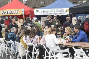 Diners enjoy the street food on offer at The Pitt. Picture: Greg Macvean
