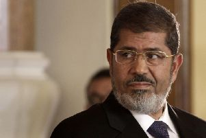 The former president of Egypt has collapsed, state TV says.