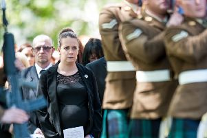 Lynzy Savage, pregnant, at the funeral of her husband Royal Highland Fusilier Corporal William Savage. Picture: Ian Georgeson/TSPL.