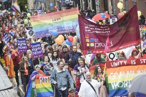 The feelgood factor should not obscure the fact that the Pride march is a political statement. Picture: Greg Macvean