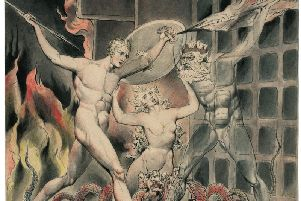 A scene from Paradise Lost, as envisioned by William Blake, in which Satan comes to the gates of hell (PA Photo courtesy of The Wordsworth Trust and the Huntington Library, San Marino, California)
