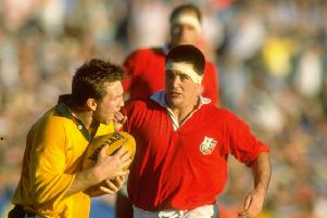 David Sole comes in to challenge Greg Martin during the 1989 Lions tour to Australia. Picture: Allsport.