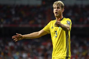Filip Helander appearing for the Swedish national team against Spain.
