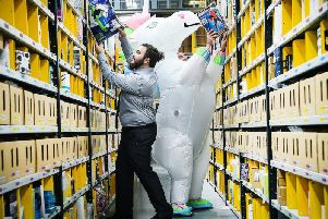 The Amazon fulfilment centre in Dunfermline stores, picks, packs and ships the firms products. Picture: Andy Buchanan