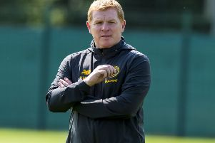 Celtic manager Neil Lennon supervises training at Lennoxtown. Picture: Alan Harvey/SNS