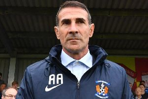 Kilmarnock manager Angelo Alessio favoured the buttoned-up shirt look with no tie. Picture: Anthony Devlin/PA Wire