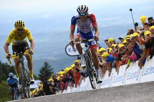 Thibaut Pinot leads fellow Frenchman and yellow jersey holder Julian Alaphilippe at La Planche des Belles Filles.  Picture: Getty Images
