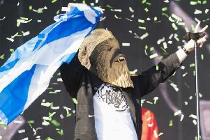 Lewis Capaldi takes to the Main Stage wearing a Chewbacca during the TRNSMT festival at  Glasgow Green, Scotland. Picture: Lesley Martin/PA Wire