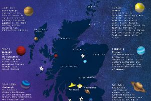 An extract of the map produced by VisitScotland to highlight the country's links to space exploration
