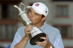 Paul Lawrie  kisses the Claret Jug after winning the Open at Carnoustie 20 years ago