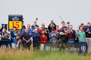Tiger Woods plays a shot during a practice round prior to the 148th Open Championship at Royal Portrush. Picture: Kevin C. Cox/Getty Images