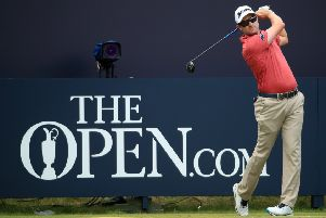 Russell Knox tees off during a practice round at Royal Portrush. Picture: Andrew Redington/Getty