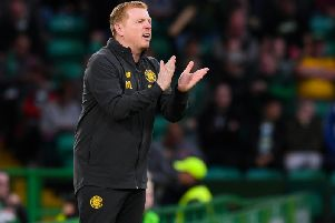 Neil Lennon urges his side on from the touchline against Sarajevo