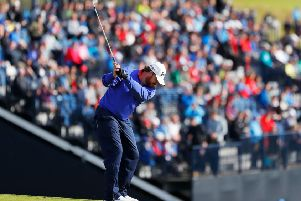 America's J. B. Holmes plays his second shot to the 17th at Royal Portrush. Picture: Kevin C. Cox/Getty