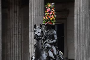Glasgow has been getting creative with the Duke of Wellington's traditional traffic cone. But Edinburgh's statue is better (Picture: John Devlin)