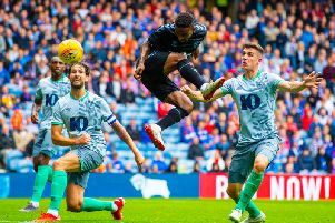 Jermain Defoe gets on the end of Jordan Jones' cross to put Rangers in front