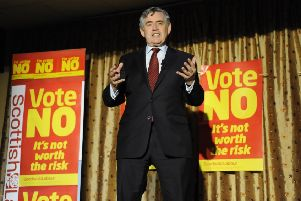 Gordon Brown speaks in Edinburgh during the independence referendum in 2014. Picture: Andrew O'Brien/JPLicence: