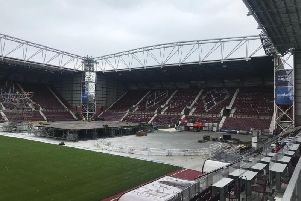 Work is underway to transform Tynecastle Park into Edinburgh's answer to the Hollywood Bowl.
