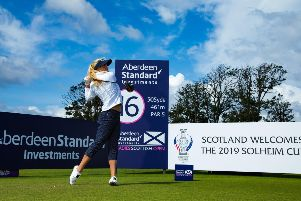 Carly Booth tees off on the 16th hole during the pro-am at the Aberdeen Standard Investments Ladies Scottish Open. Picture: Tristan Jones