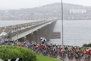 The peloton heads south after crossing the Tay Bridge from Dundee on the curtailed first stage of the Women's Tour of  Scotland. Picture: SWPics.com