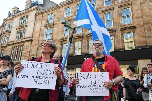 Scottish independence supporters demonstrate in Glasgow. Picture: John Devlin