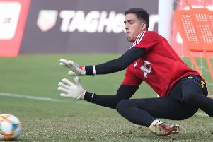 Hearts' new loan signing Joel Pereira in action during a Manchester United training session in Shanghai last month. Picture: Manchester United via Getty