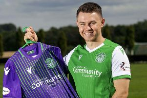 Glenn Middleton is unveiled by Hibs after his protracted loan move was finally concluded. PictureL SNS.
