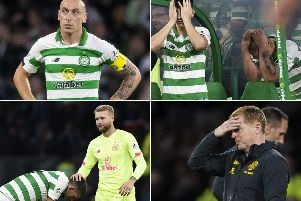 Clockwise from top left: Scott Brown looks dejected, Mikey Johnston and Brown can't watch, Neil Lennon feels the pressure and Scott Bain consoles Ryan Christie