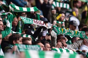 A general view of Celtic fans at the game