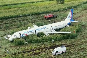 This Russian jet made an emergency landing after hitting a flock of gulls on take-off near Moscow