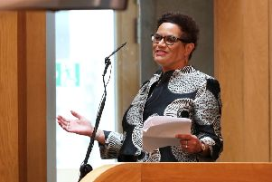 Scotland's Makar Jackie Kay speaks during a ceremony to mark the 20th anniversary of the the Scottish Parliament (Picture: Andrew Milligan/AFP/Getty Images)