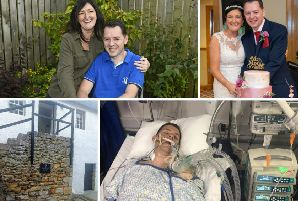 (Clockwise from top left) Chris with new wife Avril after his long spell in hospital; The couple cut the cake on their big day; Chris in hospital; The staircase Chris plunged from.