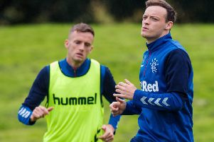 Rangers' Brandon Barker, right, with Andy King in training. Picture: SNS