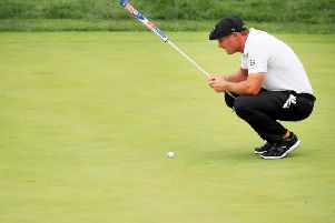 Bryson DeChambeau took two minutes and 20 seconds to hit an eight-foot putt. Picture: Cliff Hawkins/Getty Images