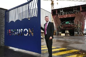 Economy Secretary, Derek Mackay, outside newly nationalised Ferguson Marine shipyard after the inaugural meeting of the Programme Review Board.