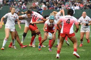 England take on Japan during the Women's Challenge Final at the Rugby Sevens World Cup 2018